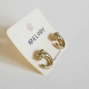 Melody Jewelry - Melody Gold Color Panther Semi-Hoop Earrings